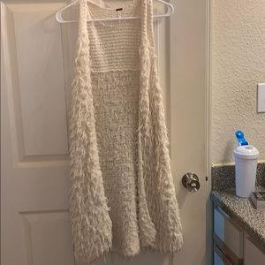Free people cream vest, long